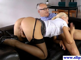 Stockings amateur sixtynining oldman