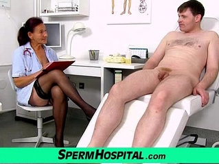 Old grandma doctor Linda stockings and young patient handjob