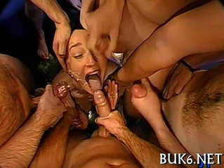 Maid receives gang team fuck session