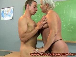 Granny amateur teacher pleasured on desk