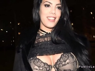 Latina flshing big tits in bra in public