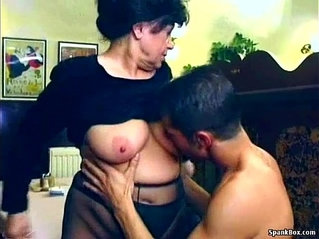 Sexy granny gets fucked in restaurant