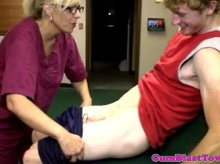 Cum loving milf nurse blasted with jizz