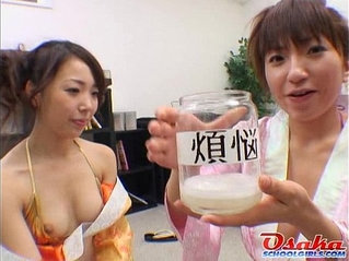 Japanese girls play with cum in a jar from http fucktubeporn.xyz