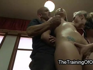 Tied up suspended blonde threesome fuck